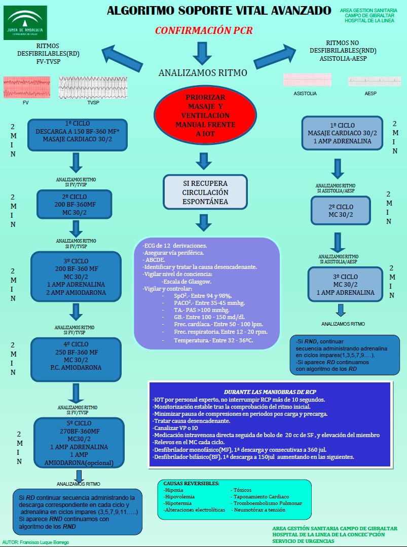Algoritmo de actuación en Soporte Vital Avanzado del AGS Campo de Gibraltar
