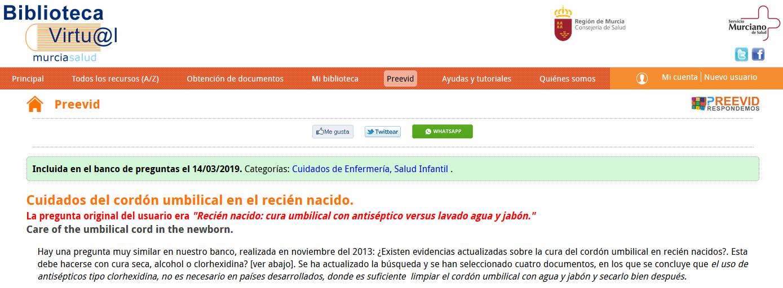 Evidencias: Cuidados del cordón umbilical en el recién nacido