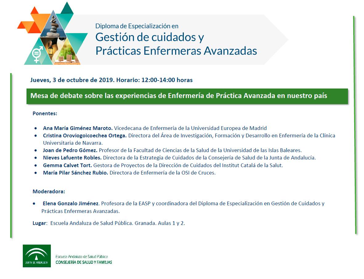 Webinar: Mesa de debate sobre las experiencias de Enfermería de Práctica Avanzada en nuestro país (3 de octubre, 12.00 h)