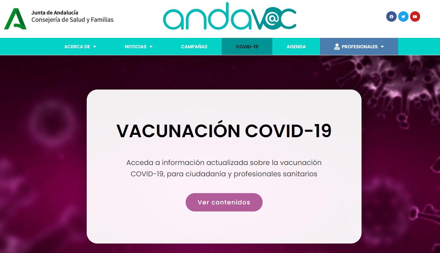 """La web """"Andavac"""" ofrece toda la información actualizada sobre la campaña de vacunación COVID-19"""