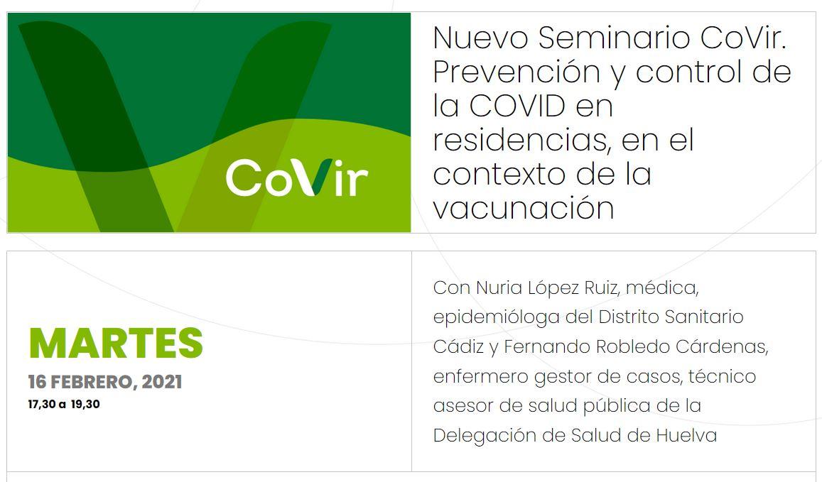 Nuevo Seminario Online Prevención y control de la COVID en residencias, en el contexto de la vacunación #CovirSocioSanitario